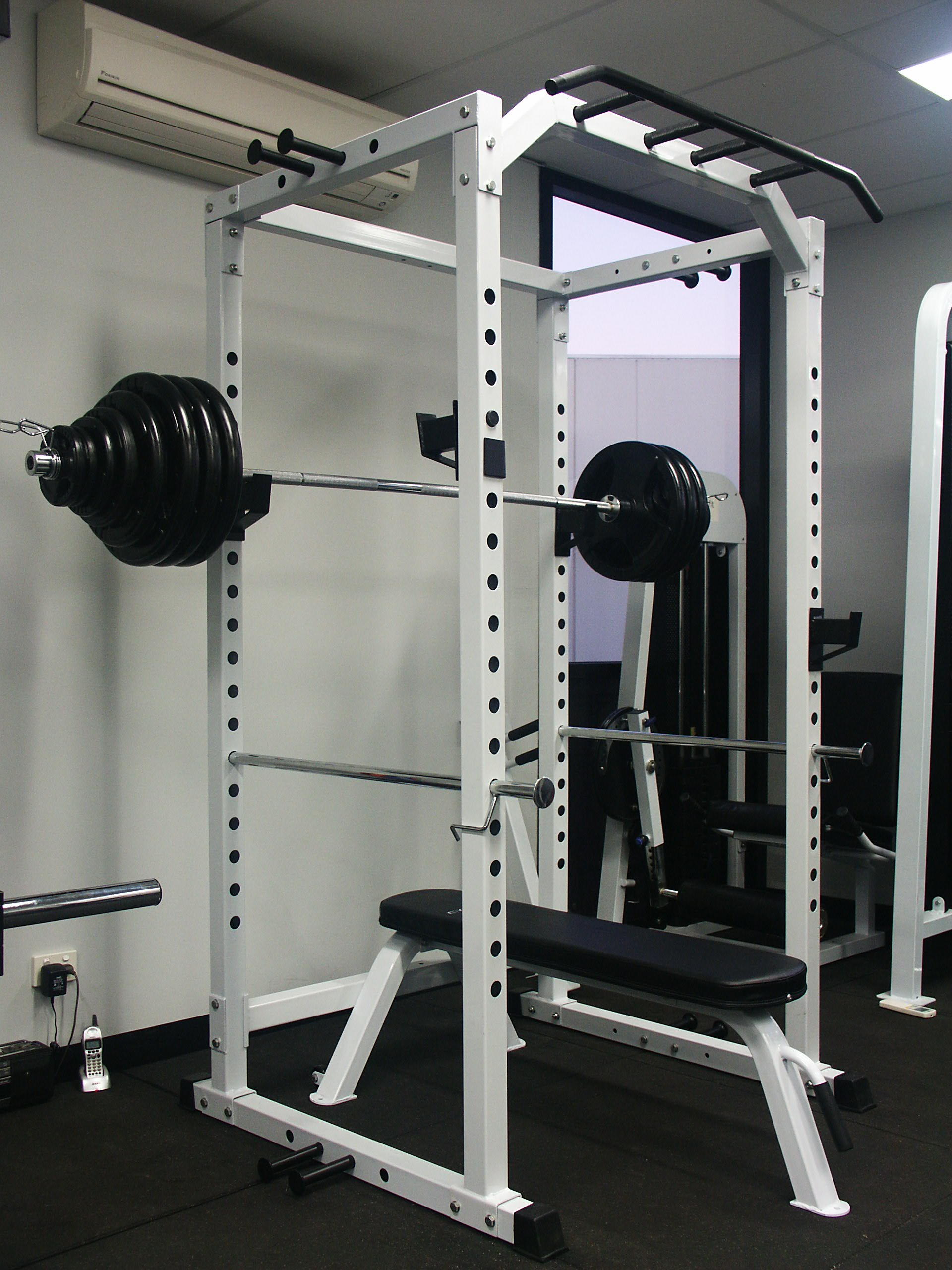 Power squat rack cage 180kg olympic weight set flat for Squat rack set